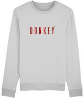Adult unisex long sleeved sweatshirt in Grey with donkey slogan printed in Burgundy