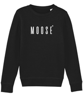 Kids long sleeved sweatshirt in Black with moose slogan printed in White