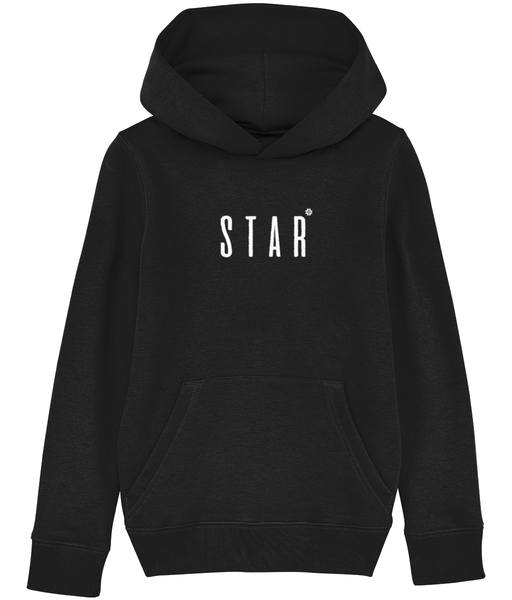 Kids Black hoodie with star slogan printed in White
