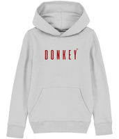 Kids Grey hoodie with donkey slogan in Burgundy