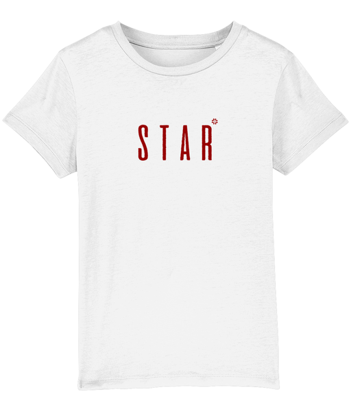 Kids White t-shirt with star slogan printed in Burgundy