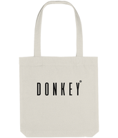 Cotton tote bag in Cream with donkey slogan printed in Black