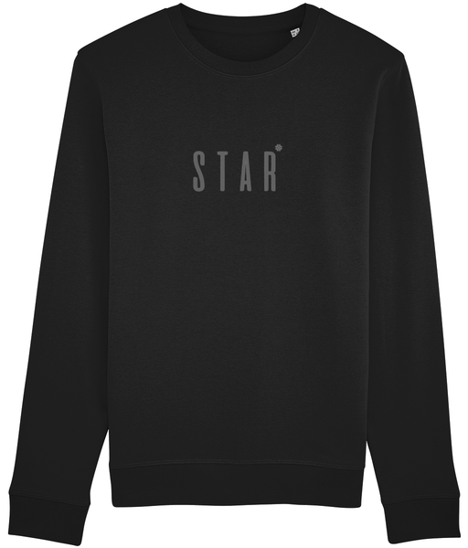 Adult unisex long sleeved sweatshirt in Black with star slogan printed in Grey
