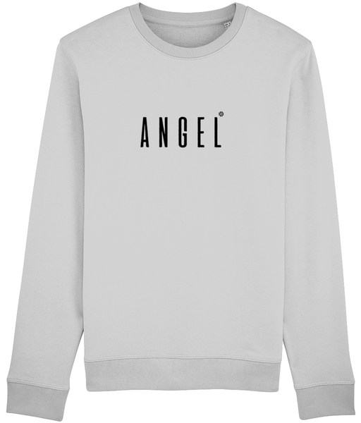 Adult unisex long sleeved sweatshirt in Grey with angel slogan printed in Black