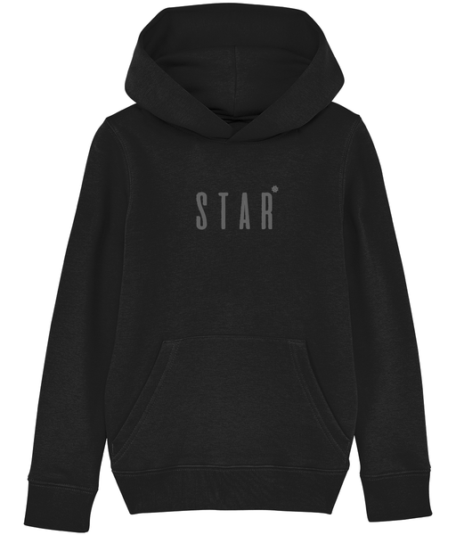 Kids Black hoodie with star slogan printed in Grey
