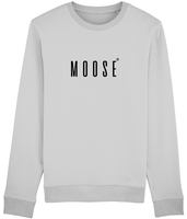 Adult unisex long sleeved sweatshirt in Grey with moose slogan printed in Black