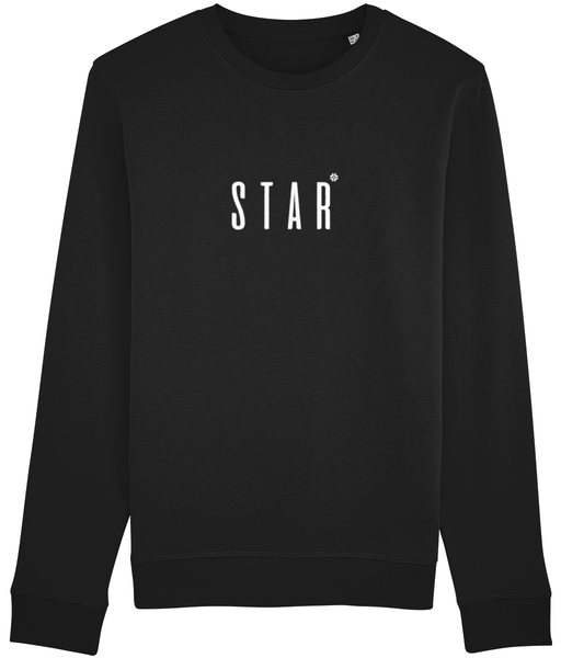 Adult unisex long sleeved sweatshirt in Black with star slogan printed in White