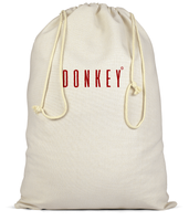 Cotton Christmas sack in Cream with donkey slogan printed in Burgundy