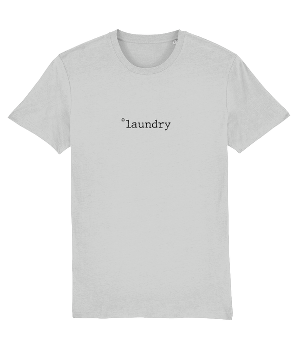 Adult unisex Grey t-shirt with laundry slogan printed in Black