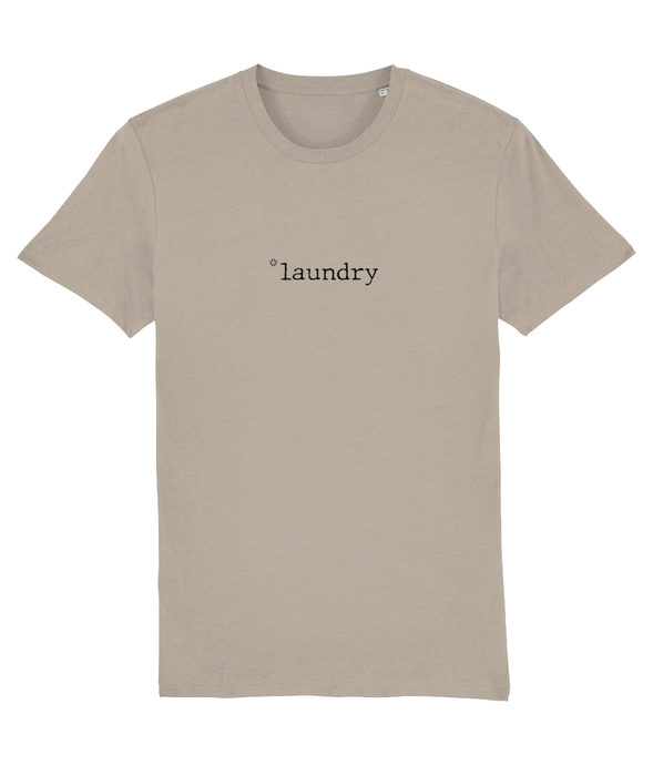 Adult unisex Sand colour t-shirt with laundry slogan in Black