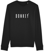 Adult unisex long sleeved sweatshirt in Black with donkey slogan printed in White