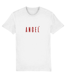 Adult unisex White t-shirt with angel slogan printed in Burgundy