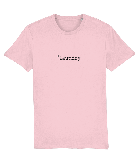 Adult unisex cotton Pink t-shirt with laundry slogan in Black