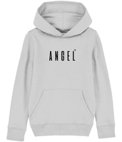 Kids Grey hoodie with Angel slogan printed in Black