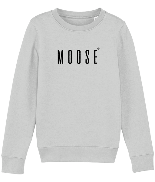 Kids long sleeved sweatshirt in Grey with moose slogan printed in Black