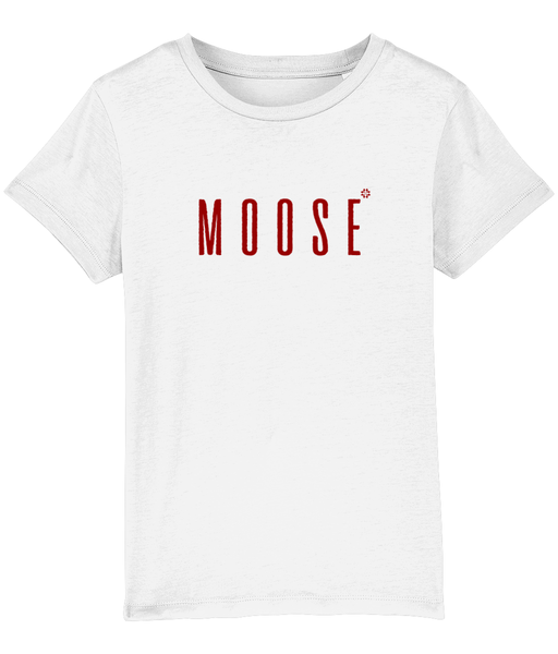 Kids white t-shirt with moose slogan printed in Burgundy