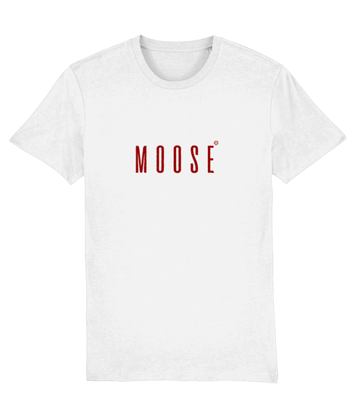 Adult unisex White t-shirt with moose slogan printed in Burgundy