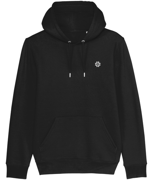 Adult unisex Black hoodie with Grey embroidered logo
