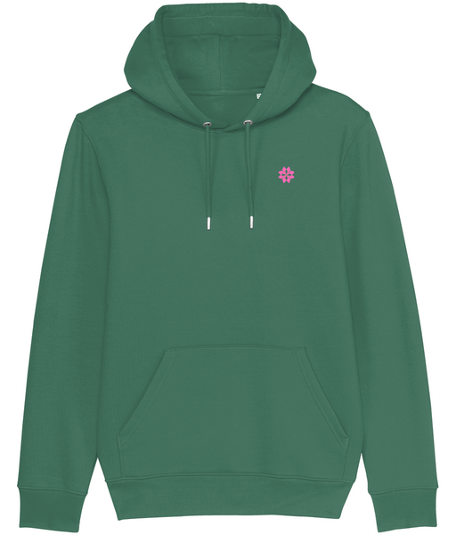 Adult unisex Green hoodie with Pink embroidered logo