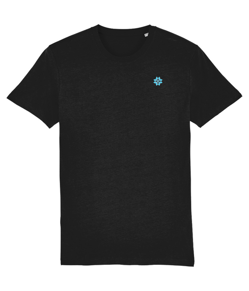Adult unisex Black t-shirt with Light Blue embroidered logo