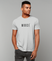 Adult unisex Grey t-shirt with moose slogan printed in Black