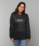 Adult unisex Black hoodie with angel slogan printed in White