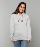 Adult unisex Grey hoodie with star slogan printed in Burgundy
