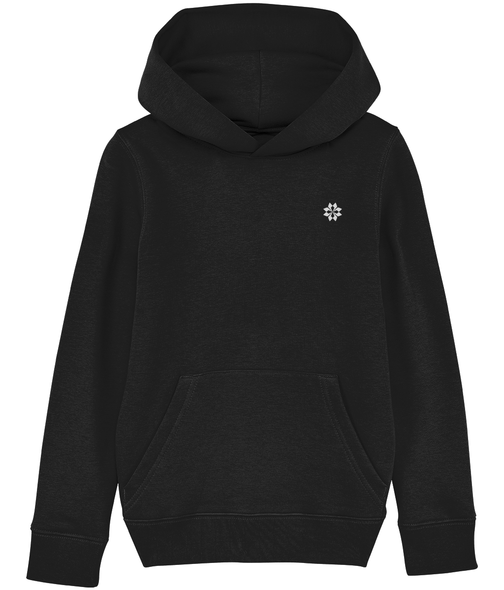 Kids Black hoodie with Grey embroidered logo