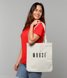 Cotton tote bag in Cream with moose slogan printed in Black