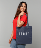 Cotton tote bag in Midnight Blue with donkey slogan printed in White