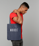Cotton tote bag in Midnight Blue with moose slogan printed in White