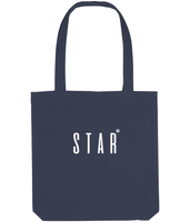 Cotton tote bag in Midnight Blue with star slogan printed in White