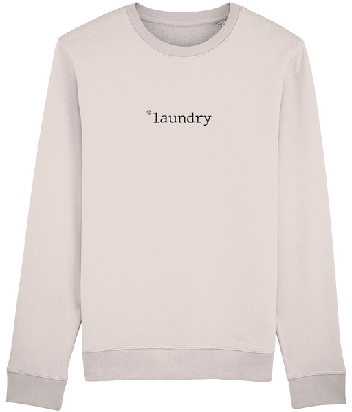Adult unisex Candy Pink sweatshirt with laundry slogan printed in Black
