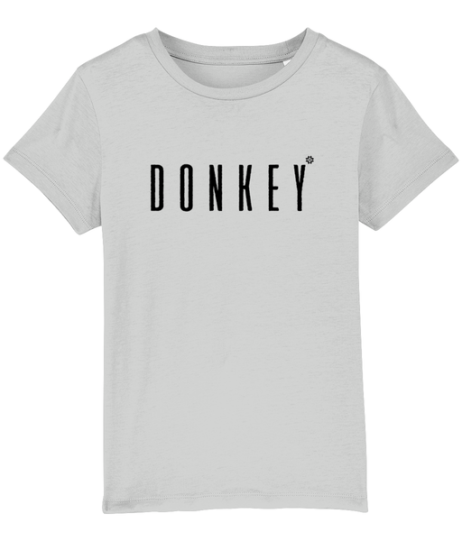 Kids Grey t-shirt with donkey slogan printed in Black