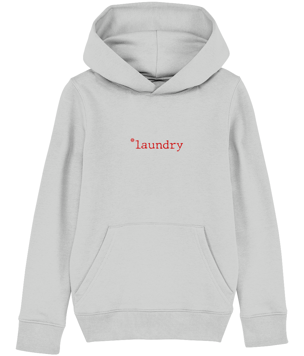 Kids Grey hoodie with laundry slogan in Red