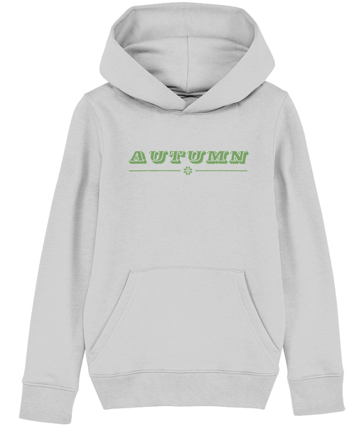 Kids Grey hoodie with autumn slogan printed in Pickle Green.
