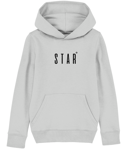 Kids Grey hoodie with star slogan printed in Black
