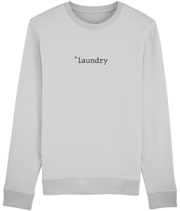 Adult unisex Grey sweatshirt with laundry slogan printed in Black