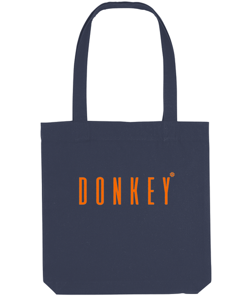 Cotton tote bag in Midnight Blue with donkey slogan printed in Orange