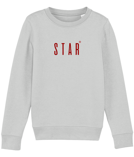 Kids long sleeved sweatshirt in Grey with star slogan printed in Burgundy