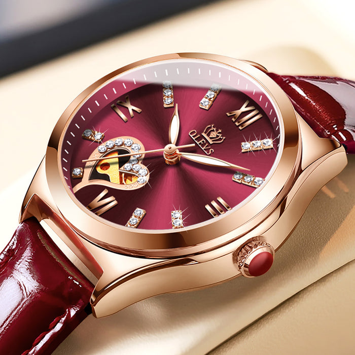 Automatic mechanical luxury clock lady wristwatch waterproof elegant women watch set fashion