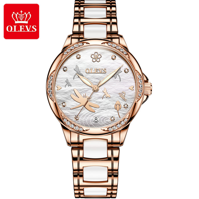 Automatic mechanical watch ceramic steel band waterproof ladies watch