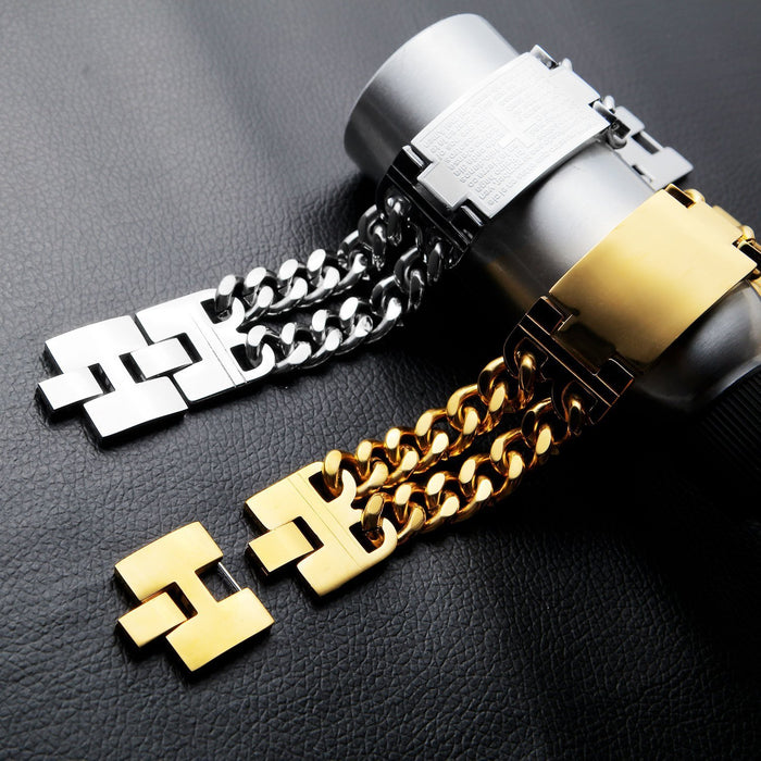 Bible Cross Titanium Steel Men's Bracelet