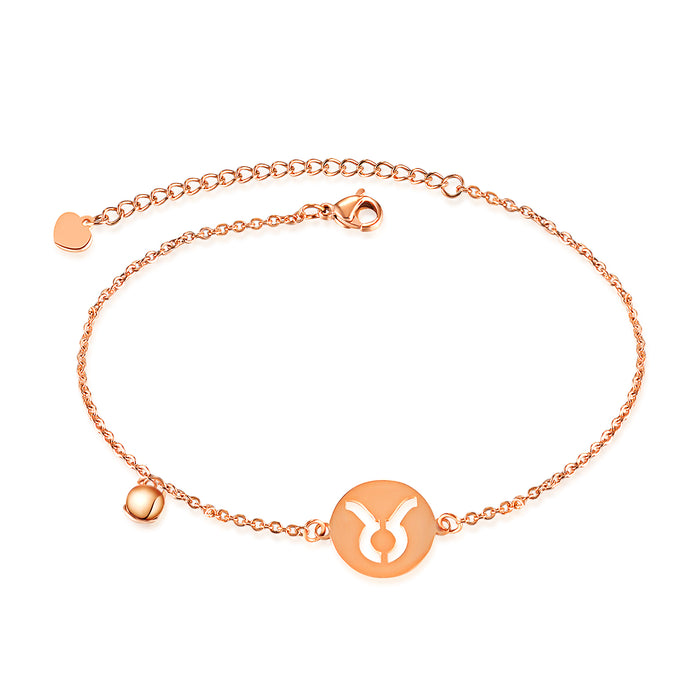 Golden 12 Constellation Zodiac Charm Anklet Female Women 100% Stainless Steel High Polished Charm Anklet