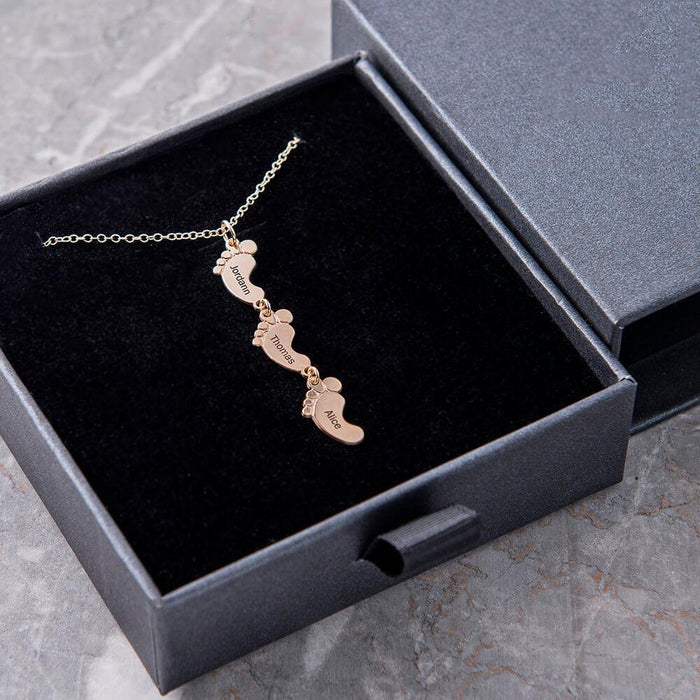 Vertical Baby Feet Necklac Can be engraved