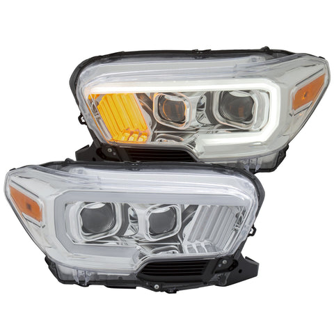 Anzo Chrome Plank Style Project Headlights - 2016+ Toyota Tacoma TRD Models (111380) - TheYotaGarage