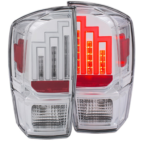 Anzo LED Tail Lights Chrome w/Clear Housing - 2016+ Toyota Tacoma (311283) - TheYotaGarage