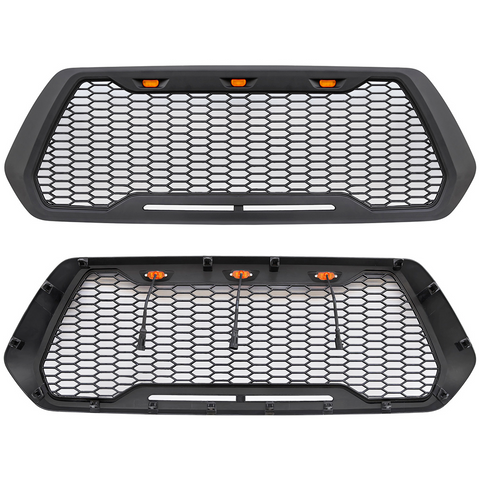 Raptor Style Matte Black Grille w/3 LED Lights - 2016+ Toyota Tacoma - TheYotaGarage