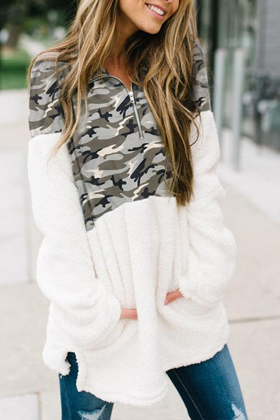 31Styles Camouflage Patchwork White Hoodies