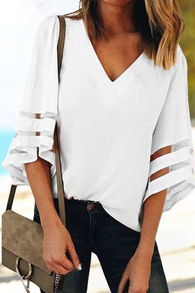 31Styles Solid Color V-Neck Cropped Sleeve Shirt